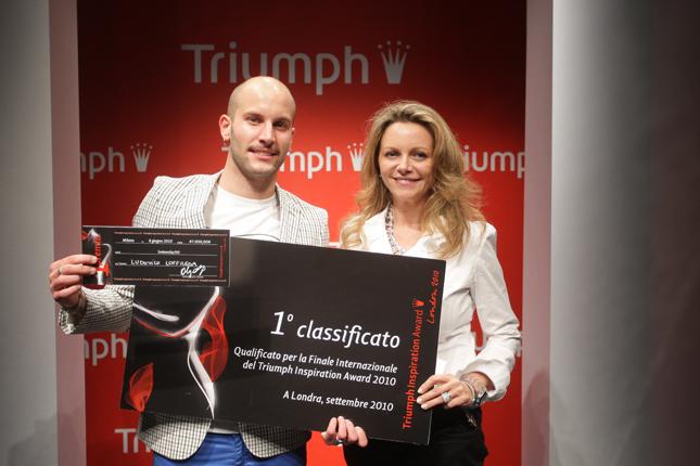 1° Classificato Ludovico Loffreda dello IED di Milano con Memory of Shape e Olga Iarussi AD Triumph Italia