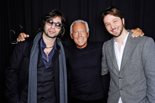 Giorgio Armani con Francesco Sarcina e Silvio Muccino