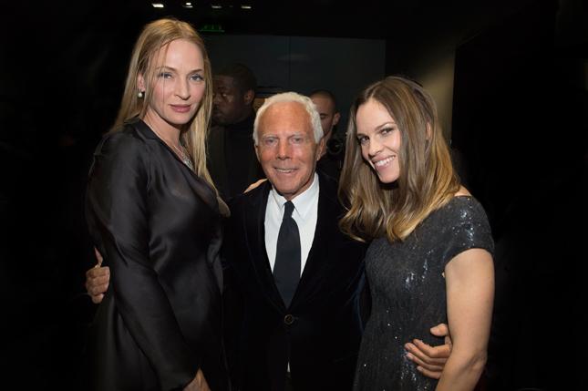 Uma Thurman, Giorgio Armani e Hilary Swank