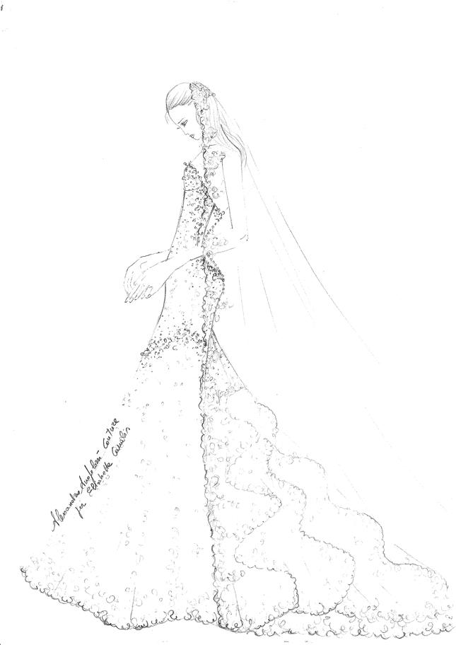 Il bozzetto dell'abito da sposa di Elisabetta Canalis firmato Alessandro Angelozzi