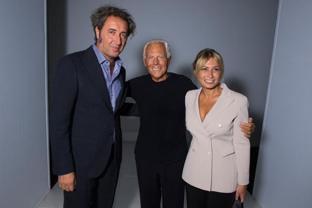 Paolo e Daniela Sorrentino con Giorgio Armani
