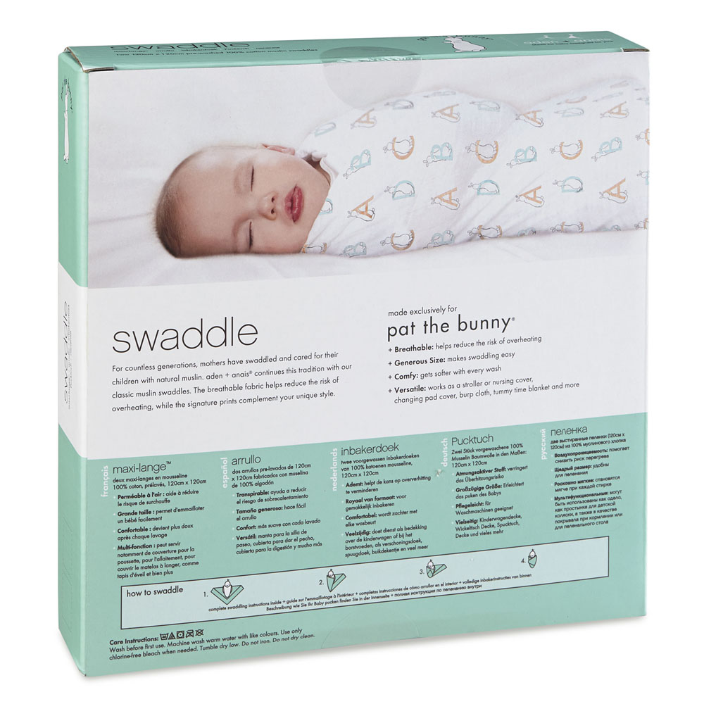 pat the bunny classic swaddle 2-pack packaging