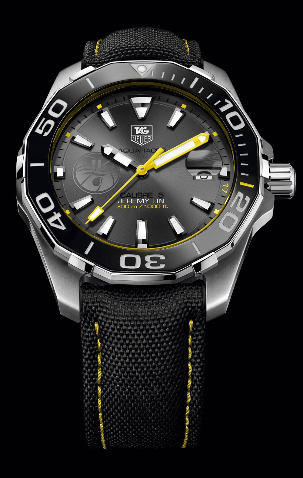 TAG Heuer Aquaracer 300M Calibre 5 Jeremy Lin Edition, illuminato da sfumature gialle