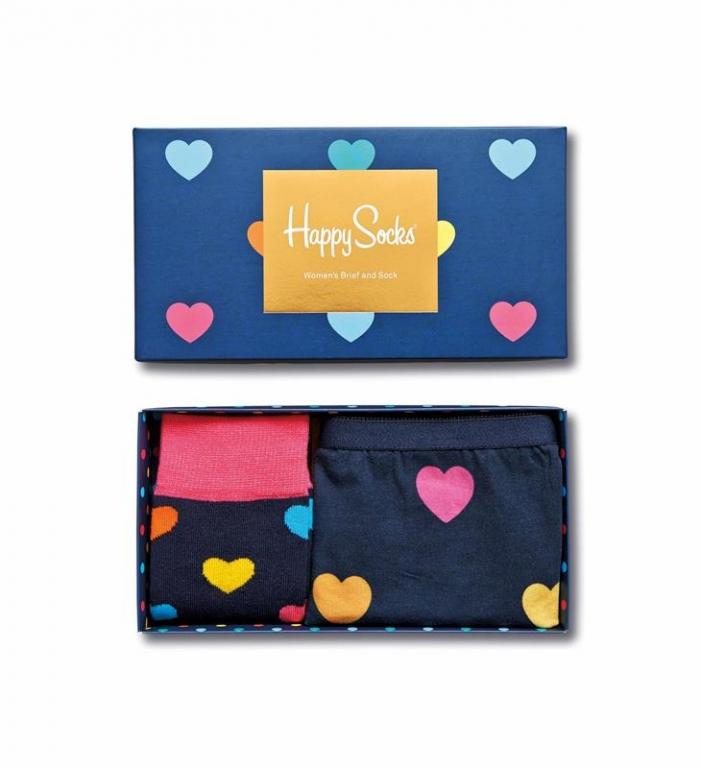 Un packaging dolcissimo che custodisce un paio di mutande e calzini con tanti cuori - HAPPY SOCKS