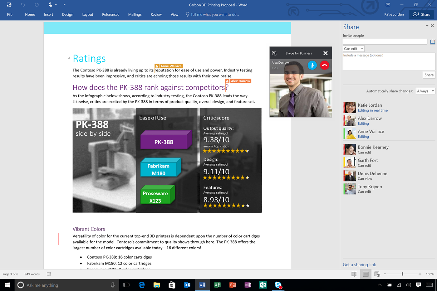 Word 2016 Real Time Typing and Skype for Business Video
