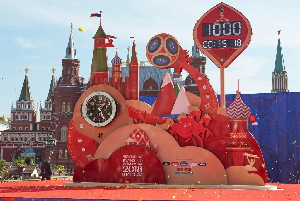 MOSCOW, RUSSIA - SEPTEMBER 18:   Countdown-Clock during FIFA '1000 Days to Go' - Russia 2018 at the Manezhnaya Square on September 18, 2015 in Moscow, Russia.  (Photo by Oleg Nikishin - FIFA/FIFA via Getty Images)