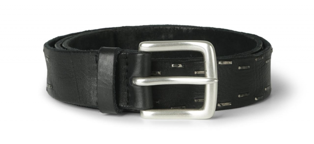 Orciani FW 16-17, cintura in pelle nera con grappe in metallo
