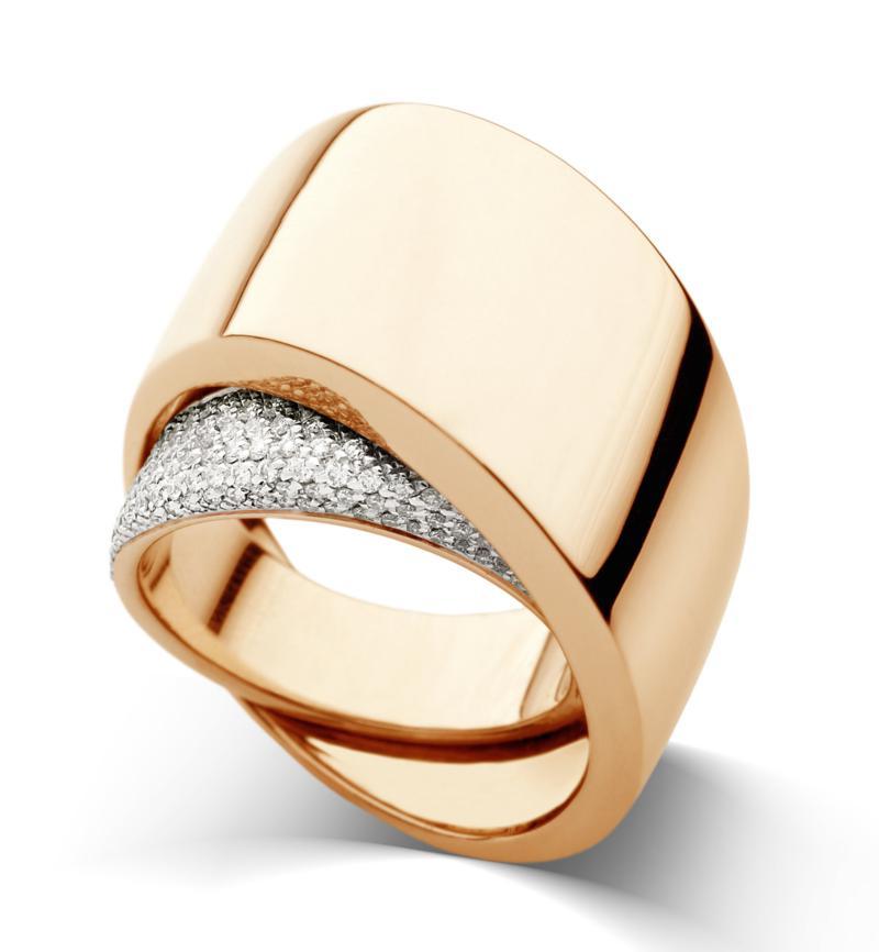 Anello Tourbillon oro rosa e diamanti