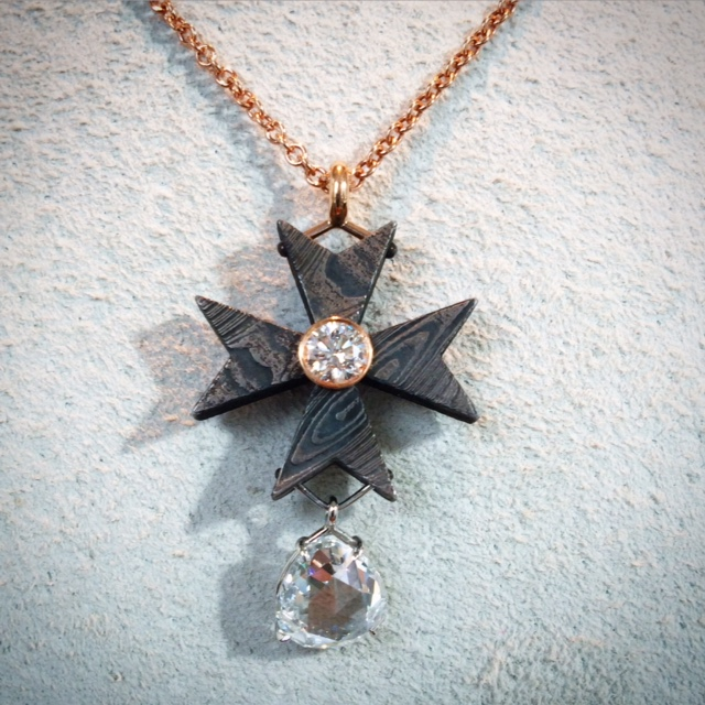 Maltese Cross with Rose Cut Diamond