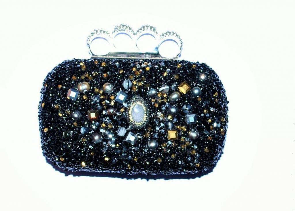 Clutch Eles Italia, con cristalli, madreperla e perle