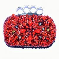 Clutch Eles Italia, con cristalli rossi e corallo