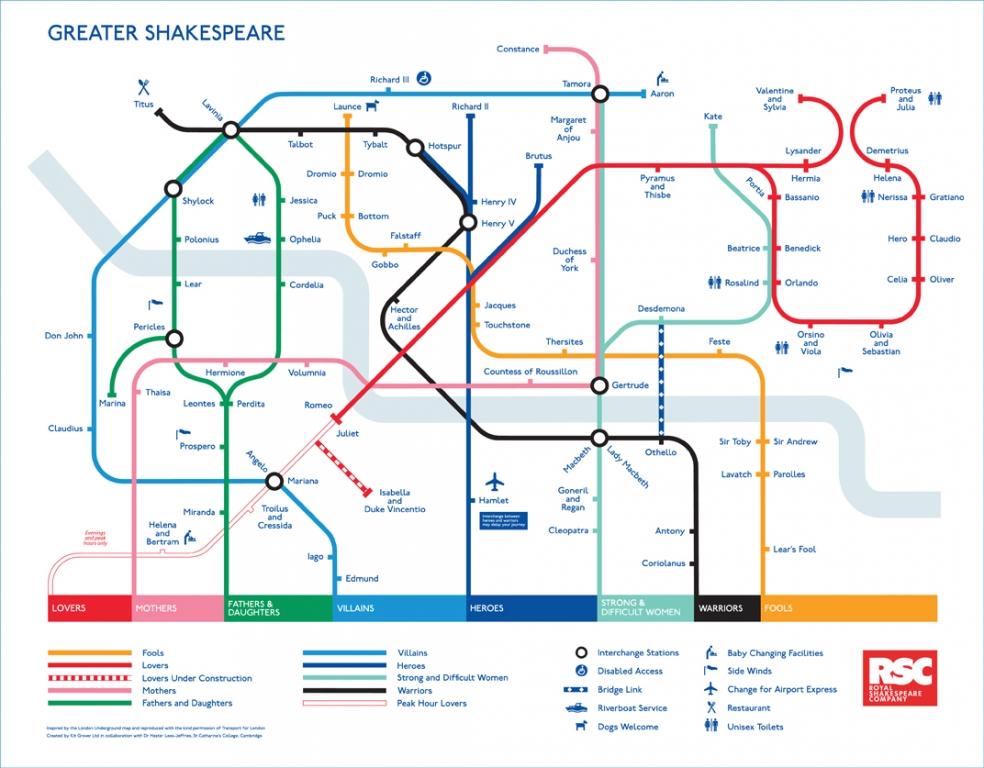 Piantina metropolitana di Londra. Omaggio a Shakespeare