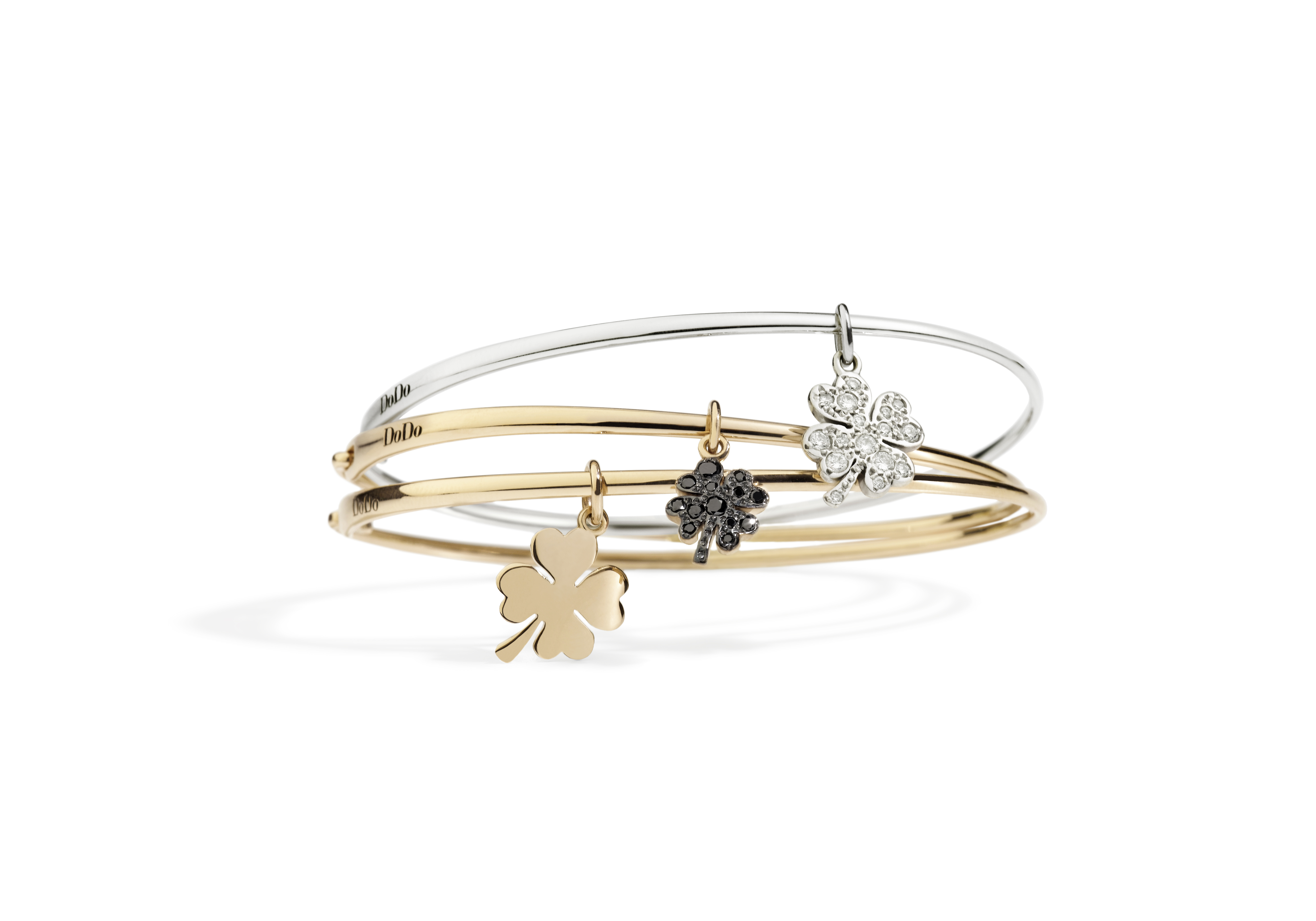 BANGLES WITH FOUR-LEAF CLOVER CHARMS