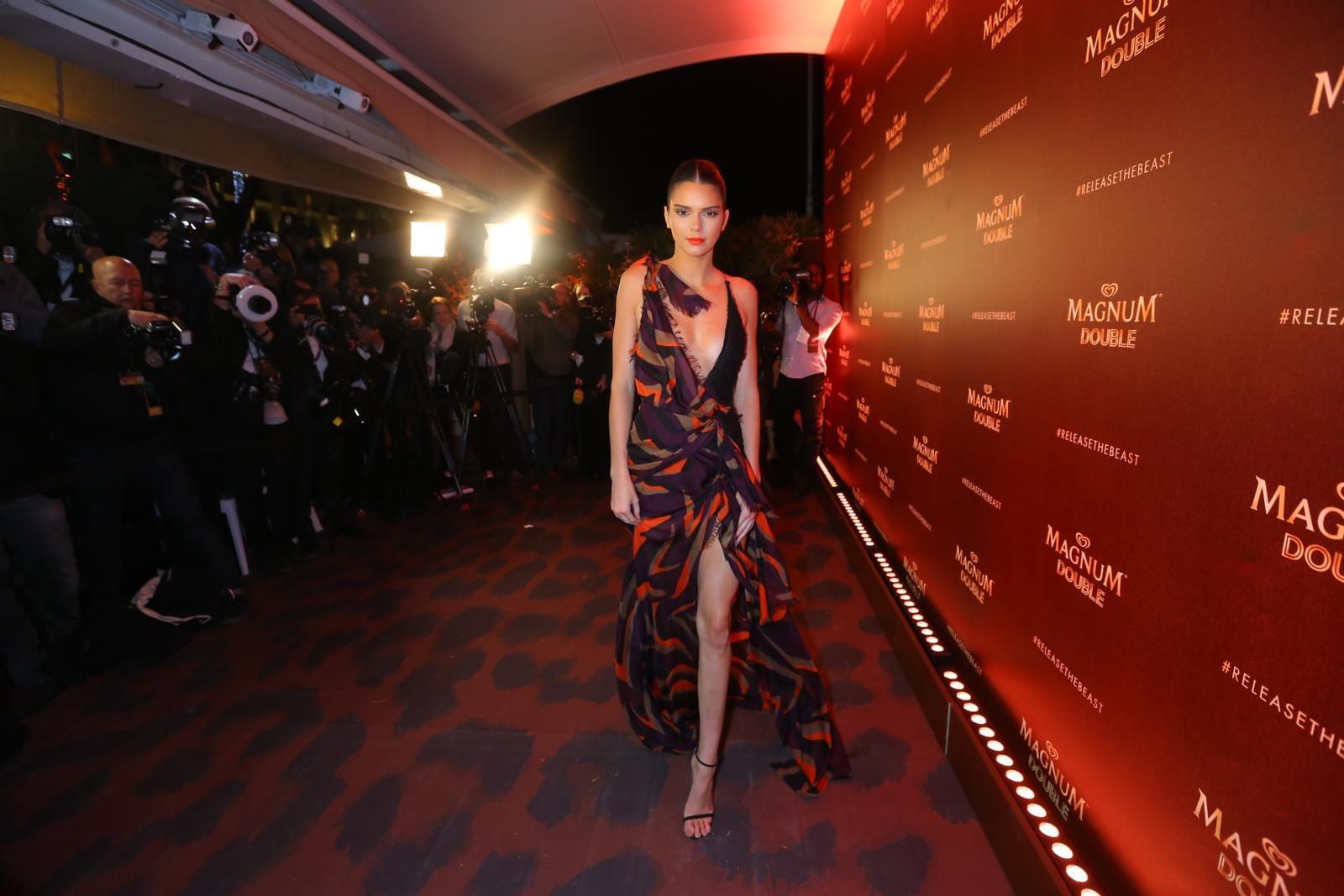 Kendall Jenner dares to unveil her wild side at the Magnum Double launch party in Cannes.