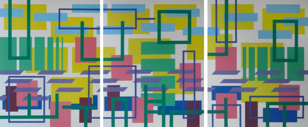 Iler Melioli Geometrie d'ambiente, 2016, acrilico su tela. TRITTICO cm 150x 360. Foto Iler Melioli