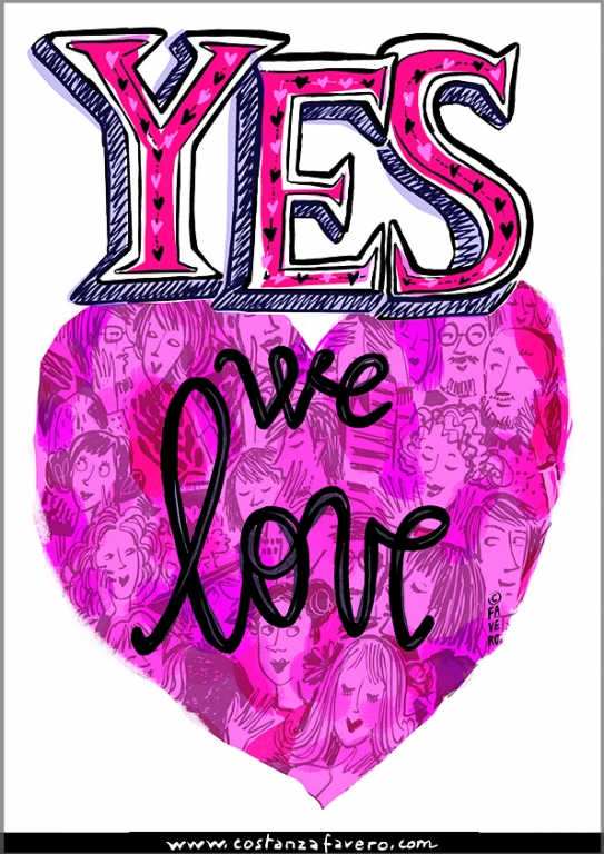 logo del motto YES WE LOVE creato da Costanza Favero