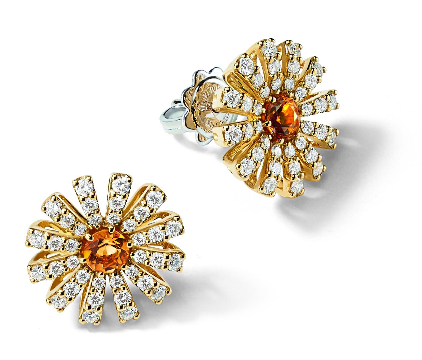 ini Collezione Margherita in oro giallo, diamanti e quarzo citrino