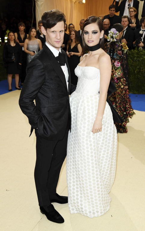Matt Smith, Lily James in Burberry (Photo by Karwai Tang/WireImage)