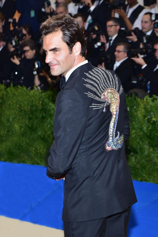 Roger Federer in Gucci (Photo by Sean Zanni/Patrick McMullan via Getty Images)