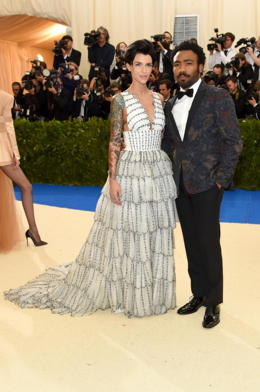 Ruby Rose, Donald Glover in Burberry (Photo by Jamie McCarthy/FilmMagic)
