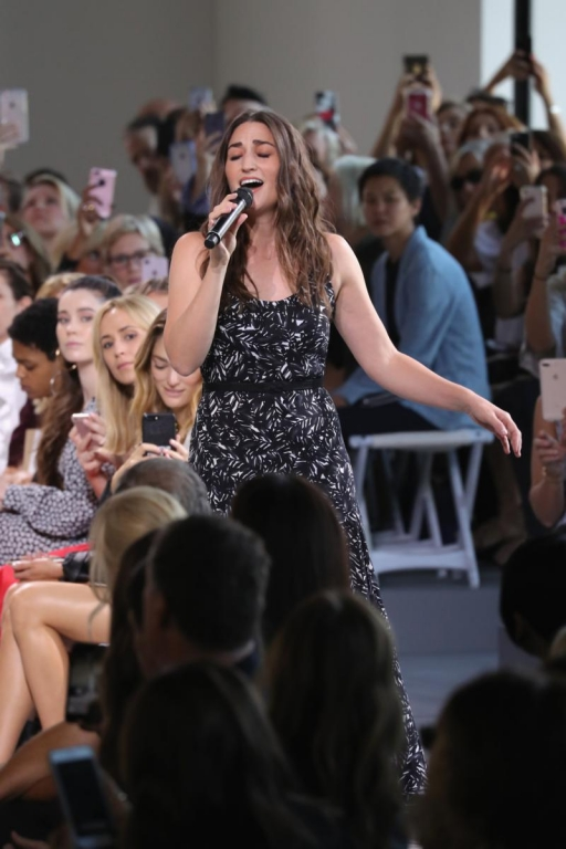 NEW YORK, NY - SEPTEMBER 13:  Singer Sara Bareilles performs on the runway for Michael Kors Collection Spring 2018 Runway Show at Spring Studios on September 13, 2017 in New York City.  (Photo by JP Yim/Getty Images for Michael Kors)