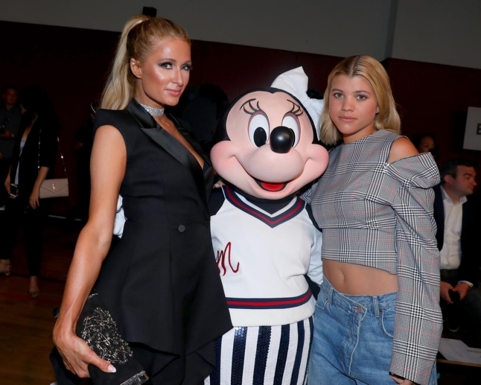 NEW YORK, NY - SEPTEMBER 08:  Paris Hilton, Minnie Mouse, wearing custom Monse look, and Sofia Richie attend Monse SS18 NYFW show at The Eugene on September 8, 2017 in New York City.  (Photo by Anna Webber/Getty Images for Disney)