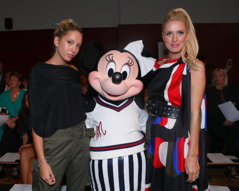 NEW YORK, NY - SEPTEMBER 08:  Princess Maria-Olympia of Greece, Minnie Mouse, wearing custom Monse look, and Nicky Hilton attend Monse SS18 NYFW show at The Eugene on September 8, 2017 in New York City.  (Photo by Anna Webber/Getty Images for Disney)