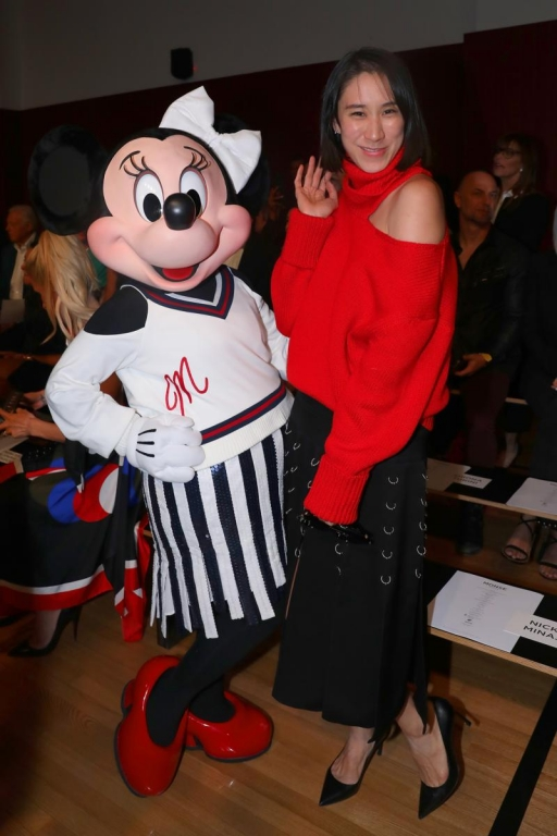 NEW YORK, NY - SEPTEMBER 08:  Minnie Mouse, wearing custom Monse look, and Eva Chen attend Monse SS18 NYFW show at The Eugene on September 8, 2017 in New York City.  (Photo by Anna Webber/Getty Images for Disney)