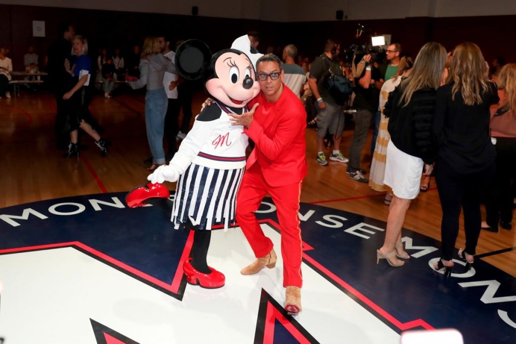 NEW YORK, NY - SEPTEMBER 08:  Minnie Mouse, wearing custom Monse look, and James Aguiar attend Monse SS18 NYFW show at The Eugene on September 8, 2017 in New York City.  (Photo by Anna Webber/Getty Images for Disney)