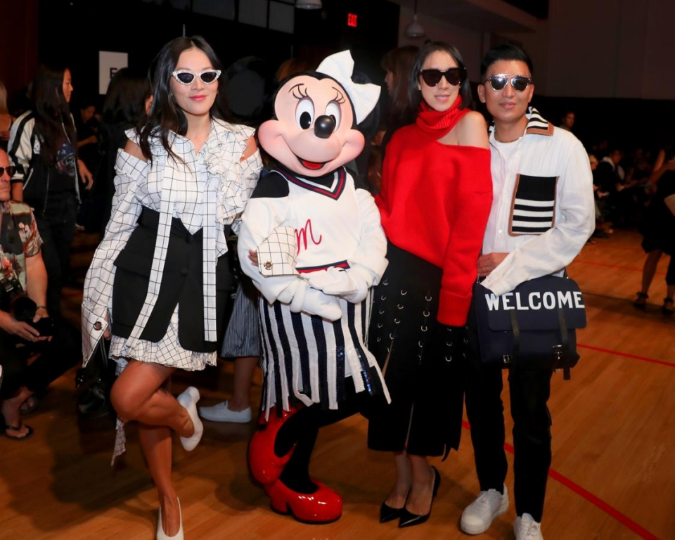NEW YORK, NY - SEPTEMBER 08:  Tina Leung, Minnie Mouse, wearing custom Monse look, Eva Chen, and Bryan Boy attend Monse SS18 NYFW show at The Eugene on September 8, 2017 in New York City.  (Photo by Anna Webber/Getty Images for Disney)