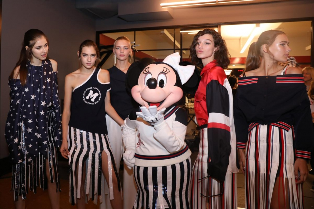NEW YORK, NY - SEPTEMBER 08:  Minnie Mouse (C), wearing custom Monse look, poses backstage at Monse SS18 NYFW show at The Eugene on September 8, 2017 in New York City.  (Photo by Anna Webber/Getty Images for Disney)