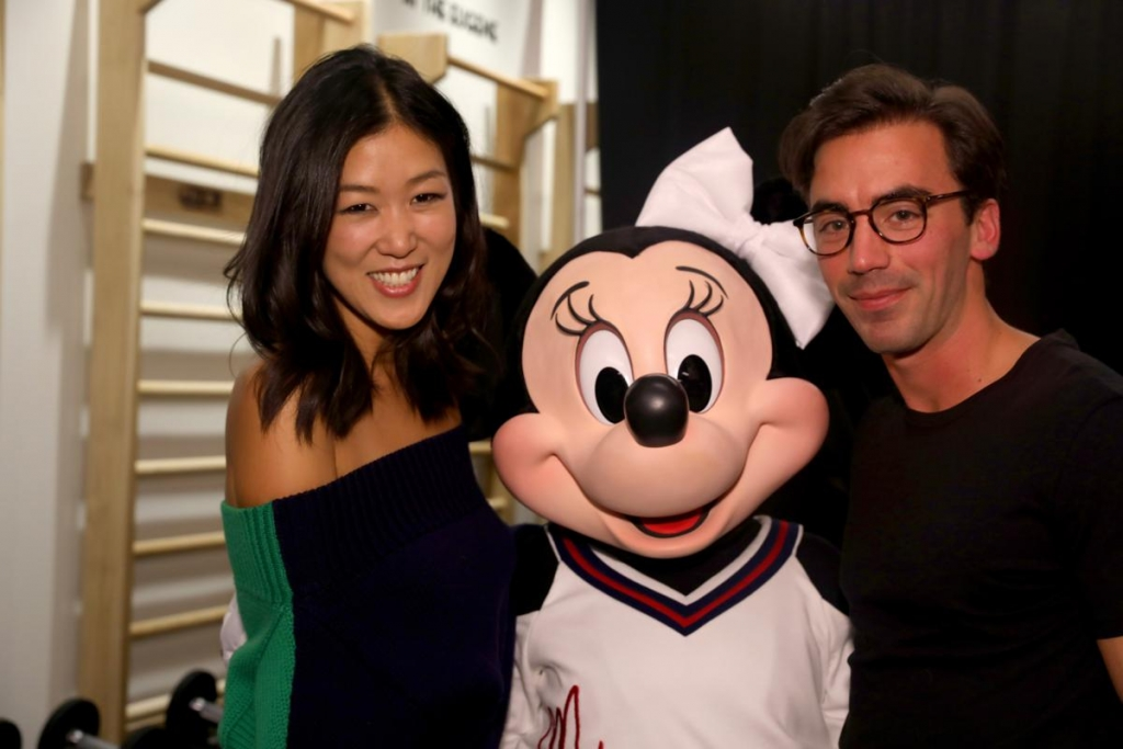 NEW YORK, NY - SEPTEMBER 08:  Minnie Mouse (C), wearing custom Monse look, poses backstage with Monse dcreative directors Laura Kim and Fernando Garcia at Monse SS18 NYFW show at The Eugene on September 8, 2017 in New York City.  (Photo by Anna Webber/Getty Images for Disney)