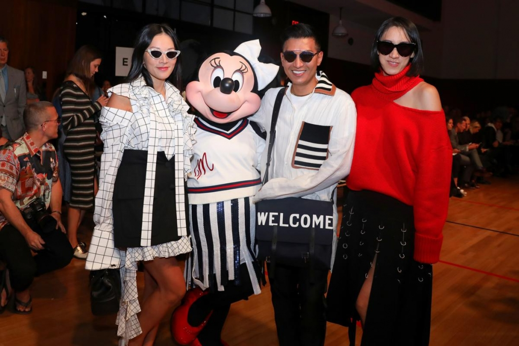 NEW YORK, NY - SEPTEMBER 08:  Tina Leung, Minnie Mouse, wearing custom Monse look, Bryan Boy, and Eva Chen attend Monse SS18 NYFW show at The Eugene on September 8, 2017 in New York City.  (Photo by Anna Webber/Getty Images for Disney)