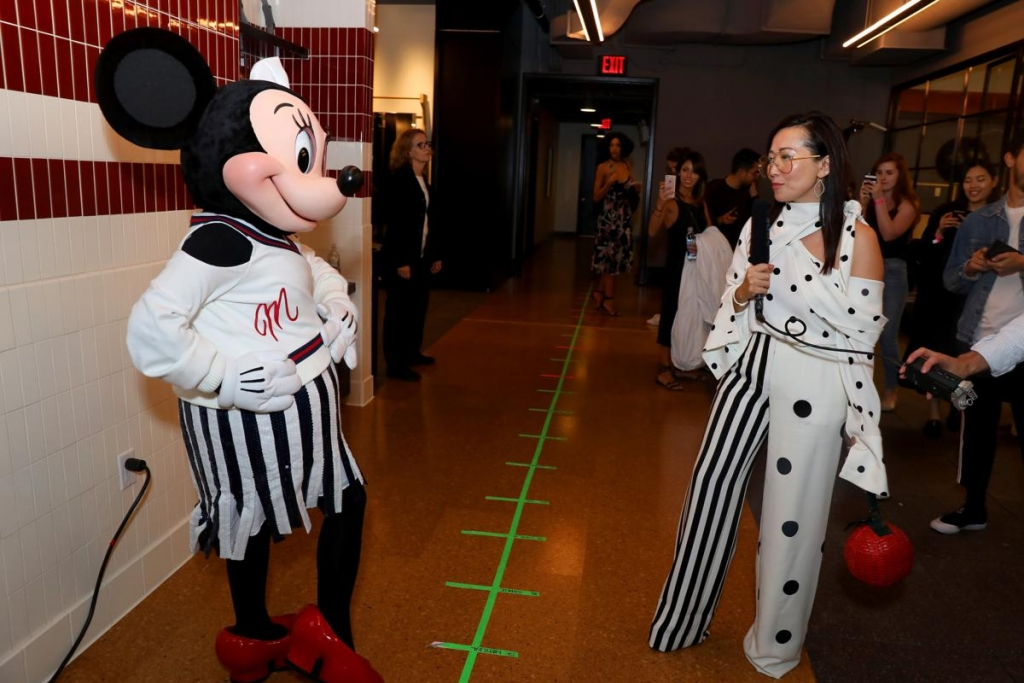 NEW YORK, NY - SEPTEMBER 08:  Minnie Mouse, wearing a custom Monse look, backstage at Monse SS18 NYFW show at The Eugene on September 8, 2017 in New York City.  (Photo by Anna Webber/Getty Images for Disney)