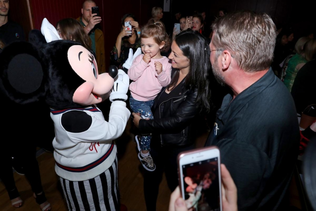 NEW YORK, NY - SEPTEMBER 08:  Minnie Mouse, wearing custom Monse look, greets a guest at Monse SS18 NYFW show at The Eugene on September 8, 2017 in New York City.  (Photo by Anna Webber/Getty Images for Disney)
