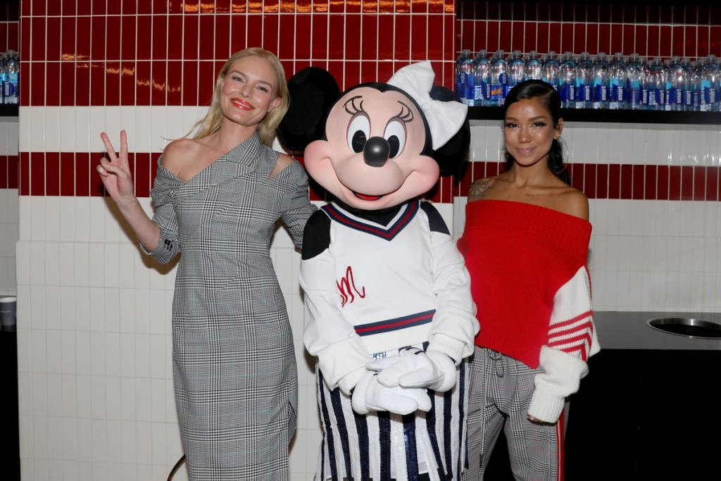 NEW YORK, NY - SEPTEMBER 08:  Kate Bosworth, Minnie Mouse, wearing custom Monse look, and Jhene Aiko pose backstage at Monse SS18 NYFW show at The Eugene on September 8, 2017 in New York City.  (Photo by Anna Webber/Getty Images for Disney)