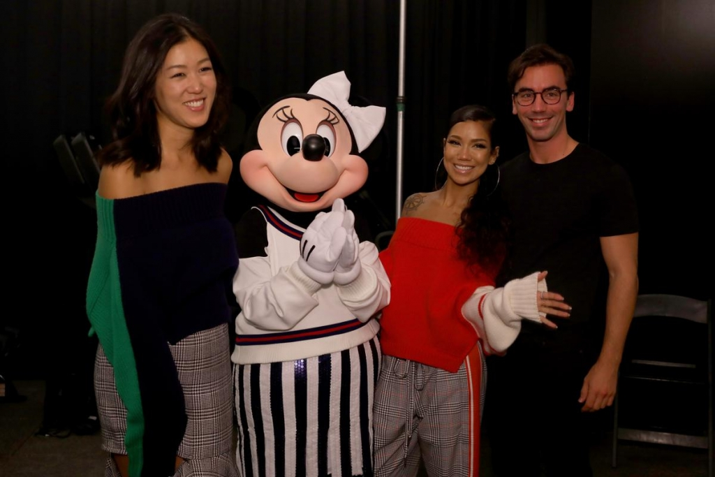 NEW YORK, NY - SEPTEMBER 08: Laura Kim, Minnie Mouse, wearing a custom Monse look, Jhene Aiko, and Fernando Garcia pose backstage at Monse SS18 NYFW show at The Eugene on September 8, 2017 in New York City.  (Photo by Anna Webber/Getty Images for Disney)
