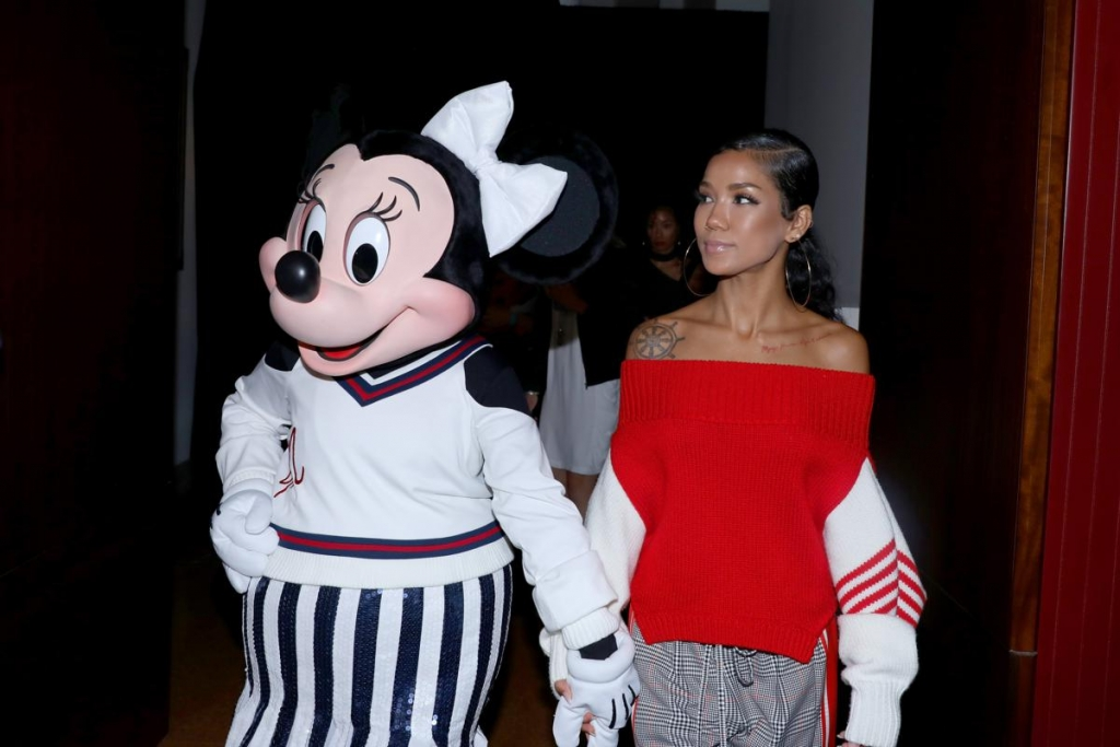NEW YORK, NY - SEPTEMBER 08:  Minnie Mouse, wearing a custom Monse look, and Jhene Aiko attend Monse SS18 NYFW show at The Eugene on September 8, 2017 in New York City.  (Photo by Anna Webber/Getty Images for Disney)