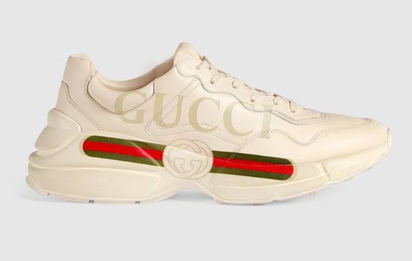 Sneaker Rhyton in pelle con logo Gucci
