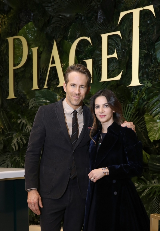 GENEVA, SWITZERLAND - JANUARY 15:  Ryan Reynolds visits the #Piaget booth with Piaget CEO Chabi Nouri during the #SIHH2018 on January 15, 2018 in Geneva, Switzerland.  (Photo by Remy Steiner/Getty Images for Piaget) *** Local Caption *** Ryan Reynolds; Chabi Nouri