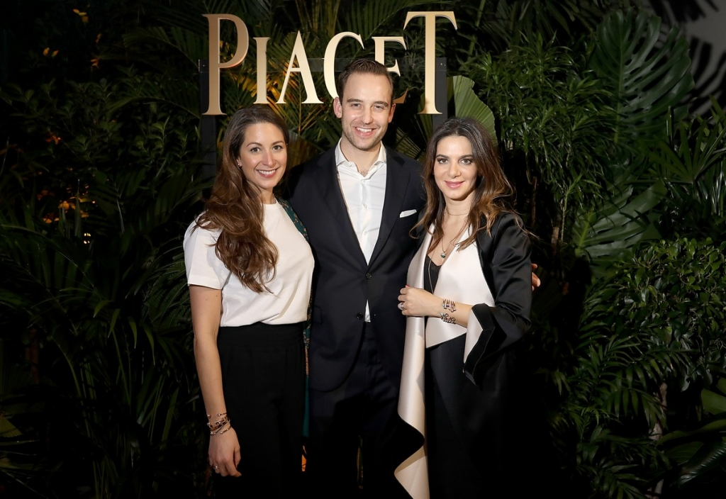 GENEVA, SWITZERLAND - JANUARY 15:  (L-R) Constance Dicker, Joel Dicker and Piaget CEO Chabi Nouri attend the #Piaget dinner at the Country Club during the #SIHH2018 on January 15, 2018 in Geneva, Switzerland.  (Photo by Remy Steiner/Getty Images for Piaget) *** Local Caption *** Joel Dicker; Chabi Nouri; Constance Dicker