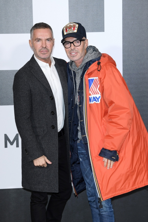 MILAN, ITALY - FEBRUARY 20:   Dean Caten and Dan Caten attend Moncler Genius during Milan Fashion Week on February 20, 2018 in Milan, Italy.  (Photo by Venturelli/Getty Images for Moncler)