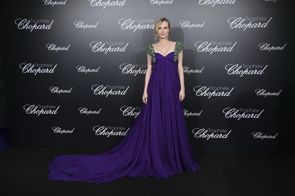 Diane Kruger in Prada con gioielli Chopard