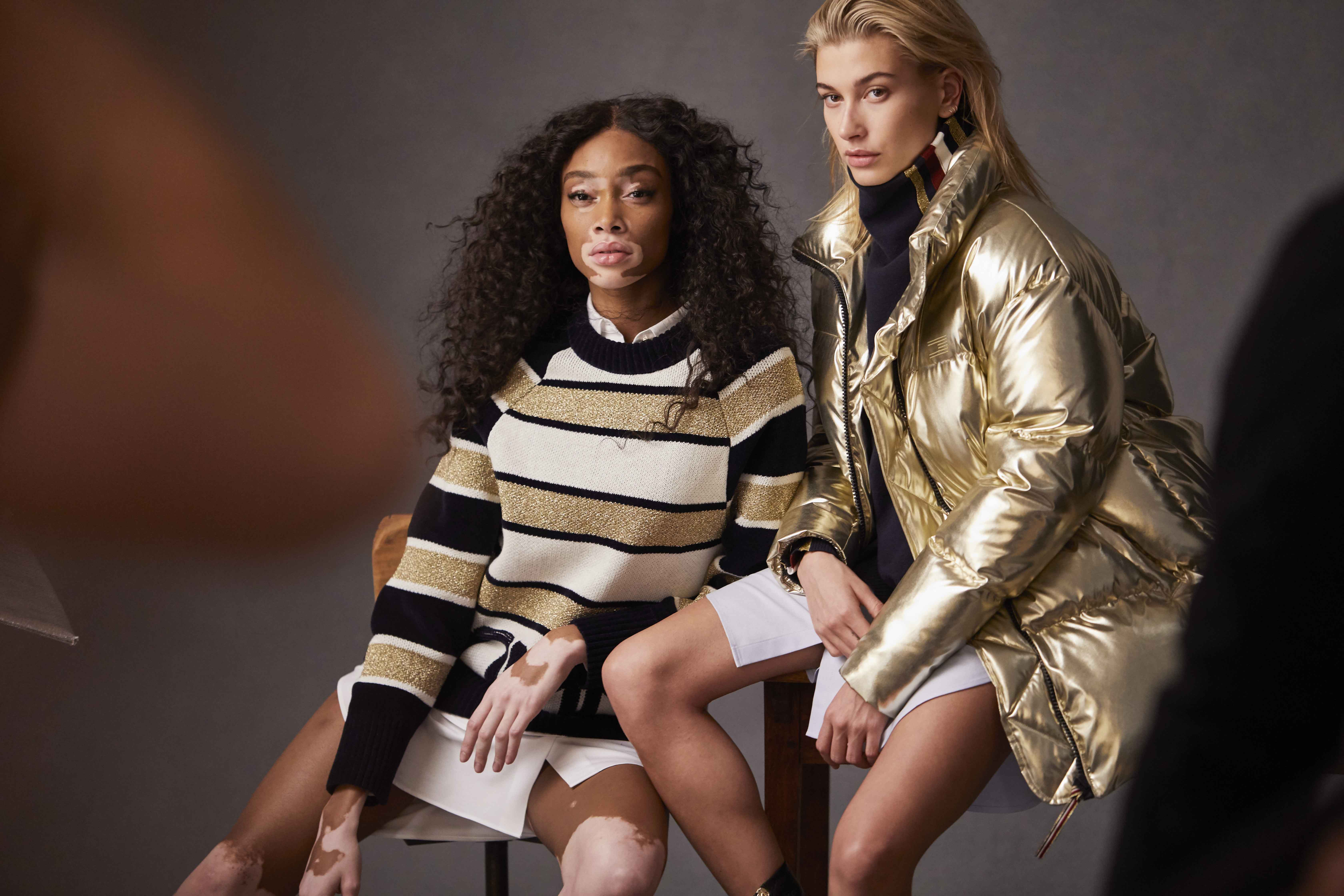 Winnie Harlow & Hayley Baldwin Tommy Icons BTS Fall 18 Low Res