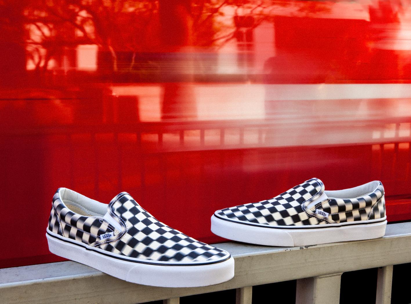 vans blur check black-classic white