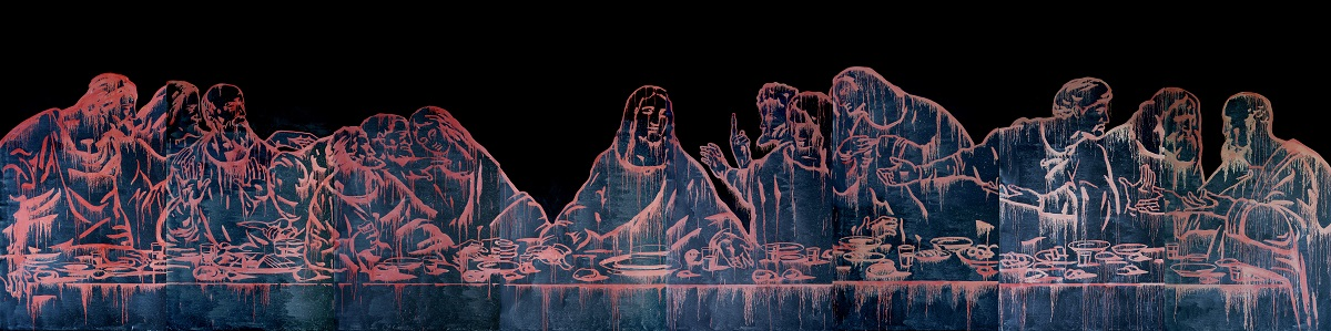 Wang Guangyi, The Last Supper (New Religion), 2011, oil on canvas, 400 x 1600, courtesy the Artist and Fondazione Stelline, Milan