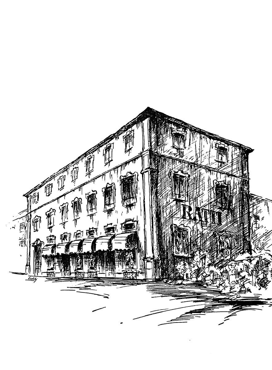 Schizzo del palazzo Ratti